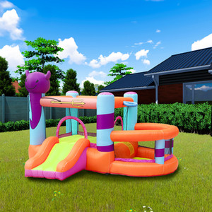 Inflável diabo Bouncer Parque Define com Slide casa inflável pequeno quintal Playground para crianças com ventilador de ar para crianças