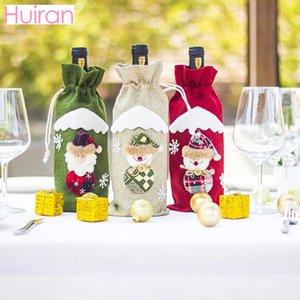 Huiran Noel Baba Noel Şarap Şişesi Ev Xmas için Kapak Şarap Aksesuarları Noeller Akşam Süsleri