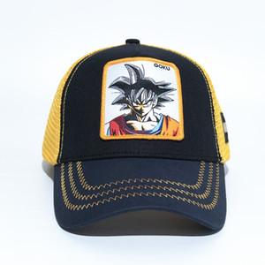 Anime GOKU gorras de béisbol para hombre para hombre Viseras de verano Sombreros de malla Bordado de alta calidad Dragon Ball Casquillo ocasional Sombrero de la bola de moda VEGETA