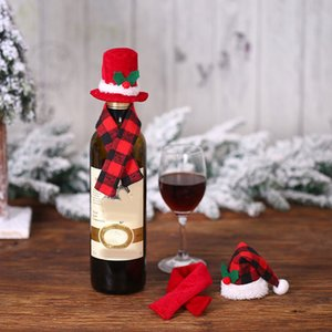 Christmas Creative Ornament Scarf Hat Two-Piece Suit Red Wine Bottle Set Hotel Restaurant Layout Dress Up Supplies