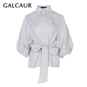 GALCAUR Elegante Bandage Frauen Bluse Revers Laterne Hülse Taste Lose Gestreiftes Hemd Weibliche Mode Kleidung 2019 Sommer Neu