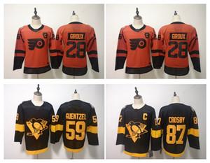 Jersey de la série du stade 2019 de la LNH Enfants Penguins de Pittsburgh 87 Sidney Crosby 59 Guentzel 28 Claude Giroux Flyers de Philadelphie Hockey chez les jeunes
