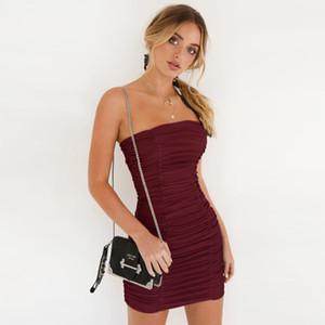 2020 Women's sexy bra-polishing nightclub pleated hip dress 8505