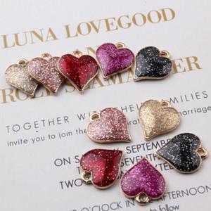 100 UNIDS 15 * 17 MM Corazón Encantos Esmalte Colgantes Diy Accesorios de Joyería En Oro Metal Craft Supplies Resultados de la joyería