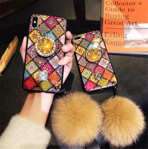 아이폰 XS XR에 대 한 lanyards와 다이아몬드 스타일 대리석 반짝이 전화 케이스 커버 확장 가능한 그립 핸드폰 홀더