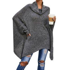 Nouveau gris foncé Femmes Mode haut col personnalité Pull long paragraphe Châle Bat Shirt Cape tricotée Veste S-XL