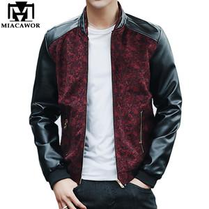 MIACAWOR New Fashion Bomber Jacket PU Maniche in pelle Giacca maschile Casual Uomo Cappotti Primavera Jaqueta Masculino MJ405