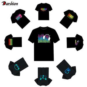 Горячие Led тенниска Мужчина Party Rock Disco DJ Sound Активированного LED T Shirt Light вверх и вниз мигающий Эквалайзер Мужского светящегося Tshirt