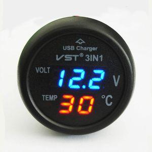 Универсальный прикуривателя автомобиля Usb порт сотового телефона зарядное устройство цифровой светодиодный дисплей вольтметр термометр Auto Gauge 3 в 1 12 В 24-вольтовой батареи