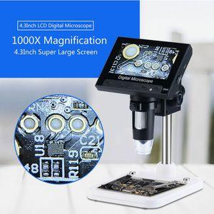 Портативный 4,3-дюймовый ЖК-экран 1000X Электронный микроскоп DM4 USB цифровой микроскоп 8 LED Подставка для печатных плат Ремонт материнских плат
