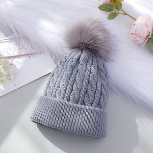 Enfilez Pom Pom Beanie 7 couleurs d'hiver chaud Crochet Bonnet Cap tricot Chapeau de crâne Filles Chapeaux OOA7420-14