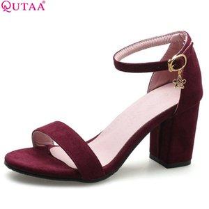 QUTAA 2020 kadın sandalet kare yüksek topuk moda kadın Ayakkabı Platformu toka düğün Ayakkabı Akın sandalet boyutu 34-43