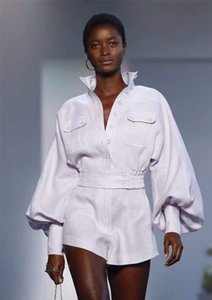 DEAT 2019 New Fashion Women Clothing Turn-down Collar Lantern Sleeves Shirt And Short High Waist Shorts Pants Set WD35400L