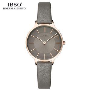 Ibso marca 8 milímetro ultra-fino relógio de quartzo mulheres de couro genuíno mulheres relógios 2019 luxo ladies watch montre femme sh190730