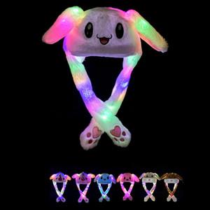 7styles Cadılar Bayramı Işık Şapka Yetişkin Çocuk Noel Sıcak parti Şapka Hareketli Tavşan boynuzlu at Kedi Kulak için peluş karikatür Hayvan Cap Led FFA2801