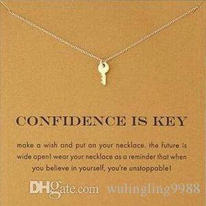 kartıyla! anahtar ile gümüş ve altın rengi sevimli dogeared kolye (güven anahtarıdır) Anahtar kolye Kolye İlham kolye