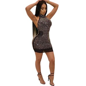 New 2020 Sexy Women Bling Shiny Diamonds Lady Bandage Bodycon Femme Party Cocktail Club Short Mini Dress