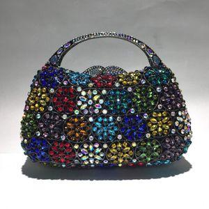 XIYUAN lady Dazzling Flower Women Silver Crystal Clutch Purses and Handbags Ladies Evening Bags Wedding Party handBag