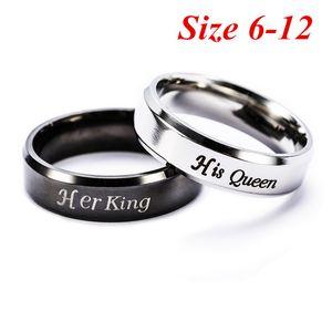 Moda anéis casal Sua rainha Her Ring King para os amantes Anel Jóias de aço inoxidável Anéis Presentes para Mulheres Homens aniversário