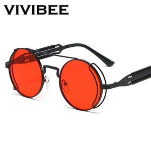 Lunettes de soleil VIVIBEE Steampunk Hommes Ronde Rouge Objectif Punk Lunettes de soleil Noir Métal Style gothique 2020 Nouveaux produits Femmes UV400 Shades