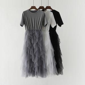 Sanishroly verano de las mujeres Vestido irregular de la alta cintura del cordón del remiendo de la camiseta de manga corta vestidos de Mujer Vestido Largo Vestidos SE555