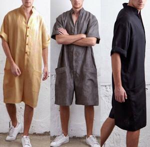 Hommes Casual vrac Lin Coton Jumpsuit Salopette Combishort Pantalon Salopette d'été Hommes en vrac souple Casual Salopette Longueur du genou