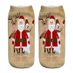 Hosiery Merry Christmas Print Womens Sock Fashion Santa Claus Milu Deer Print Sock Slippers Donna Casual