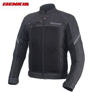 BENKIA JS18 Motosiklet Ceket Retro Tarzı Vintage Erkekler Moto Kot Ceket Motosiklet Yarış Ceket Chaqueta Siyah Giyim