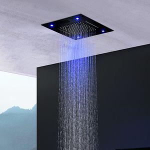 Lo nuevo baño montado techo Mate Color Negro Luz Led Plaza de la música cabezal de ducha de lluvia música inteligente de niebla Cascada de ducha