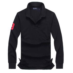 Diseñador del Mens polo de las camisetas de la manga larga cocodrilo bordado de ropa pequeña gran caballo macho de la solapa de la camisa de lujo Ralph Algodón Marca de impresión Homme