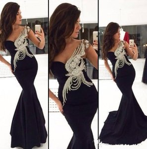 2019 New Fashionable Sheathy Design Appliques Mermaid Abito da ballo formale in chiffon Abiti da ballo Nero Stile sexy Abiti da sera a spalla