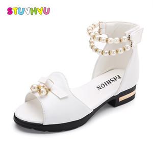 Genç kızlar 27-37 T200408 için Sıcak Satış Kız Sandalet Yaz Çocuk Ayakkabıları 2018 Marka Açık Toe Papyon inci Boncuklu Çocuk Sandalet Topuklar