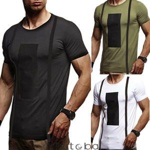 2019 nuova estate Full-cotone per uomo Gym Sport Slim Patchwork T-shirt manica corta Tee causale S-2XL muscolari Tops