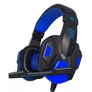 White & Red & Blue SY830MV Adjustable Length Hinges 3.5mm Surround Stereo Gaming Headset Headband Headphone with Mic for PC