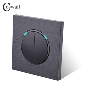 Coswall Luxurious 2 Gang 2 Way Random Click Push Button Wall Light Switch With LED Indicator dark Black Aluminum Panel