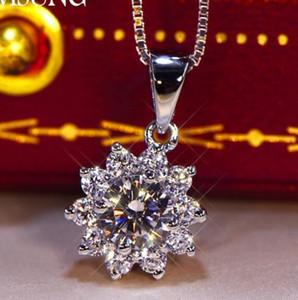 النساء هدية 0.52CT الصلبة 925 مجوهرات فضة عرس الذكرى سنو SONA قلادة الماس قلادة حفلة خطوبة BAND الجميلة