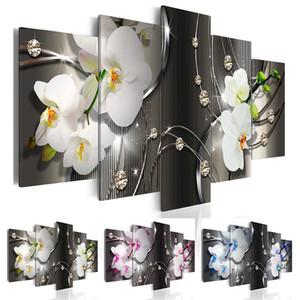 (Sin marco) Diamond Orchid Canvas Print Modern Abstract Flower Floral Art Painting Decoración del hogar Regalo para el amor, elija el color