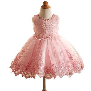 Ins flower girl dresses kids wedding lace girls dress party kids dress formal dresses girls princess dress pageant dresses retail B943