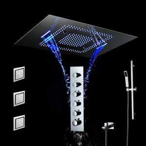 Controle Remoto Touch Panel LED Retângulo Chuveiro chuvas Cachoeira banho Torneiras termostáticas Latão Shower Set