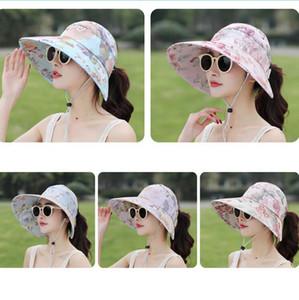 الأزهار الشمس قناع القبعات 5 ألوان المرأة الصيف واسعة حافة uv حماية كاب في الهواء الطلق الشاطئ ذيل حصان القبعات OOA6602