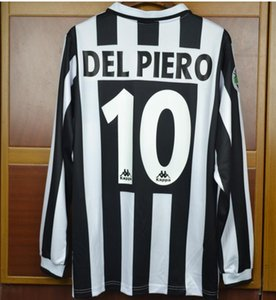 96 97 camiseta de fútbol de vista Zidane retro jerseys de manga larga 1996 1997 Del Piero fútbol camisas de Italia Calcio MAGLIA Camiseta
