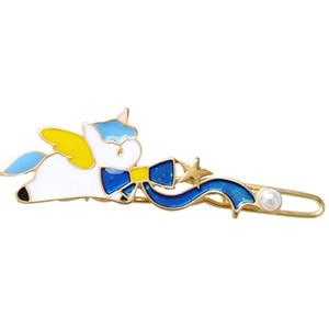 Ücretsiz kargo 10 adet / grup moda aksesuarları metal emaye yay düğüm unicorn tokalarım hairclip saç pin klip Kelepçe Süsler