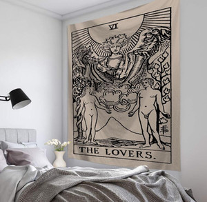 CALIENTE 150 * 130 cm Tapiz Tarot dios del sol y de la luna de la India Bohemia Mandala Tapiz Decoración colgante de pared de la decoración del arte Volver Yoga Mat