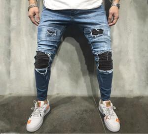 Designer ginocchio Holes Jeans Uomo Distrressed pantaloni della matita casuali scarni Old School Alta Moda jeans regolari