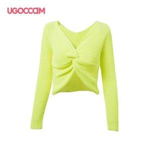 UGOCCAM profunda V Neck Sweater Mulheres Sexy fluorescente pulôver Casual Magro Bottoming camisola Feminino Elastic poliéster manga comprida