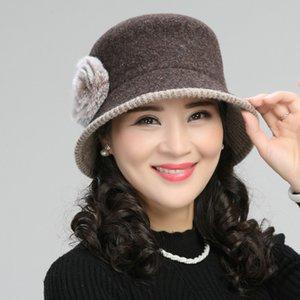 Lana cappello della benna Donne Autunno Inverno mezza età Madre Fisherman Cap Lady Nonna caldo Modo elegante Fisher Cappelli H7155