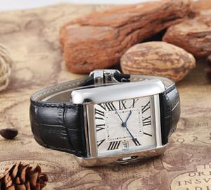 2019 marque haut chaud des hommes de mode série TANK Montres W5200027 cadran carré bracelet en cuir 41mm luxe mécanique Montre automatique Livraison gratuite