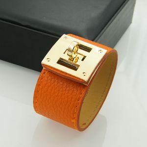 Diseño de cuero de joyería de moda de pulseras de cuero de PU brazaletes para mujeres hombres muchos colores Pulseras de acero de titanio H brazaletes joyería al por mayor