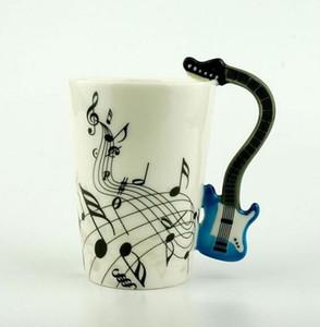 Música creativa violín estilo guitarra taza de cerámica café té leche Stave tazas con mango taza de café novedad regalos preferencia