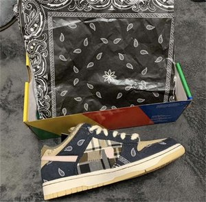 Nouvelle version Travis Scott x SB Dunk Low Sport Skateboard Chaussures pour Hommes Femmes Formateurs des Chaussures Chaussures Zapatos